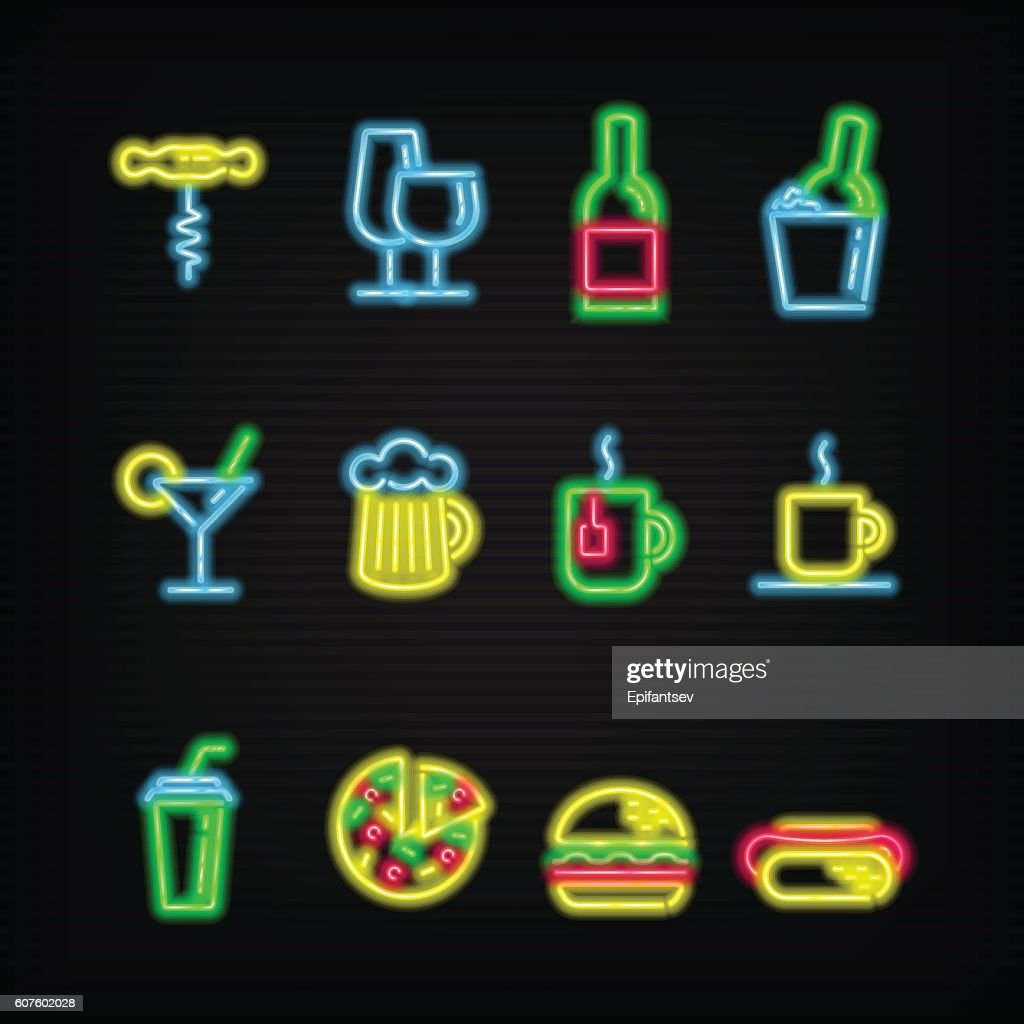 Neon symbols of different beverages and fast food