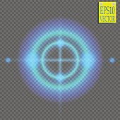 Neon Target isolated. Game Interface Element. Vector illustration