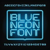 Neon tube alphabet font. Type letters and numbers.