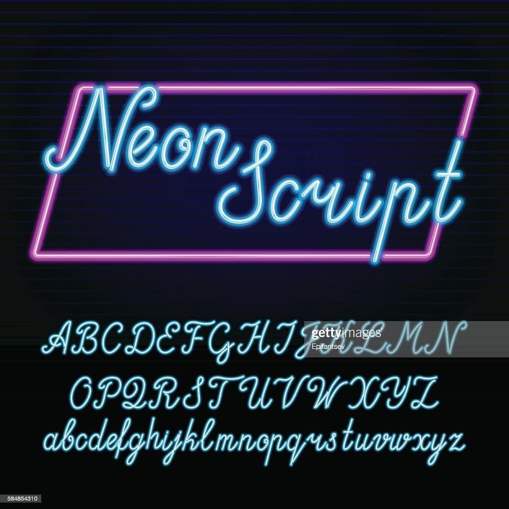 Neon tube alphabet font.