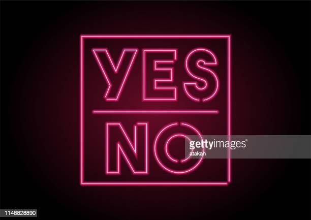 neon yes no light on black wall - ecstatic stock illustrations