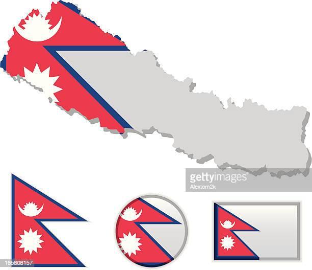 Nepal map & flag