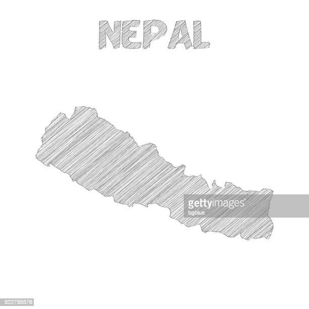 Nepal map hand drawn on white background