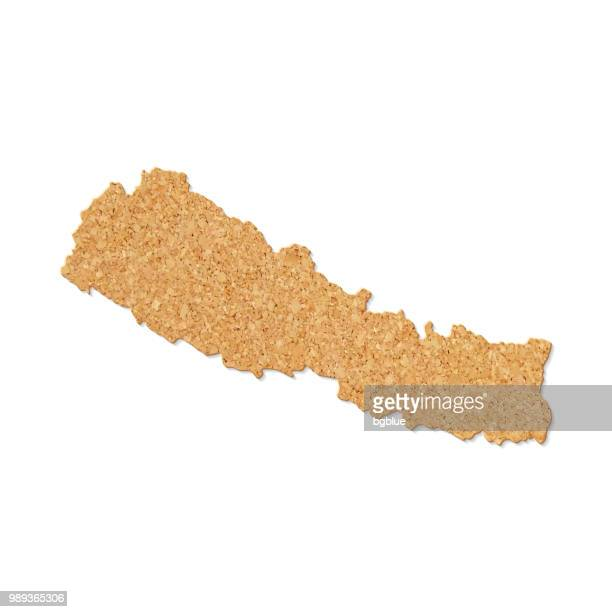 Nepal map in cork board texture on white background