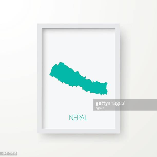 Nepal Map in Frame on White Background