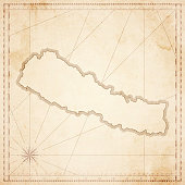 Nepal map in retro vintage style - old textured paper