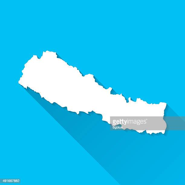 Nepal Map on Blue Background, Long Shadow, Flat Design