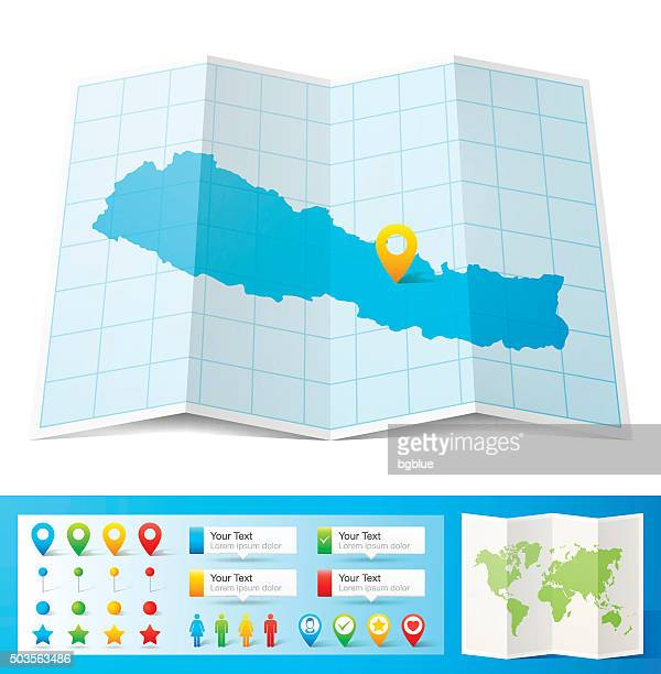 Nepal Map with location pins isolated on white Background