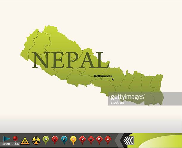 Nepal map with navigation icons