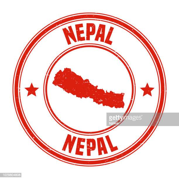 Nepal - Red grunge rubber stamp with name and map