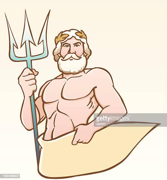 neptun - neptune roman god stock illustrations