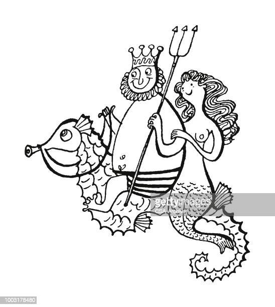 neptune and mermaid riding a seahorse - neptune roman god stock illustrations