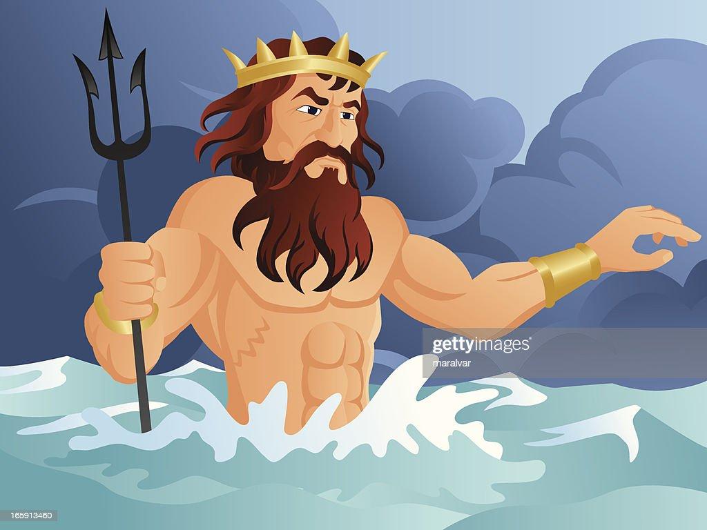 Neptune god : stock illustration