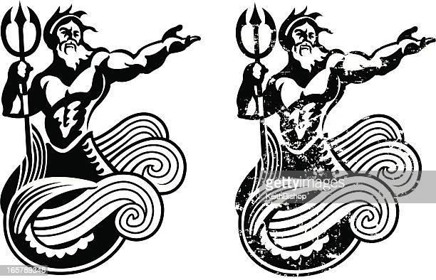 neptune - king of the sea - roman god stock illustrations
