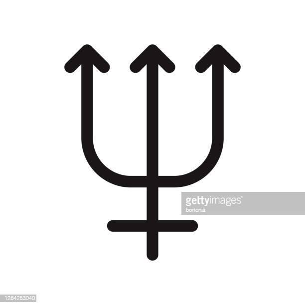 neptune planetary icon on transparent background - neptune roman god stock illustrations