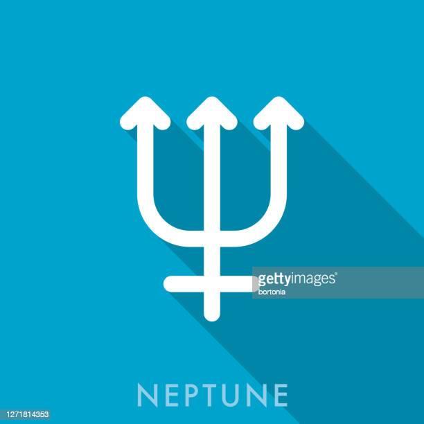 neptune planetary symbol icon - neptune roman god stock illustrations
