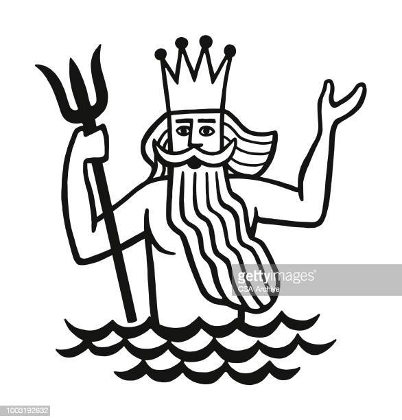 illustrations, cliparts, dessins animés et icônes de neptune - dieu