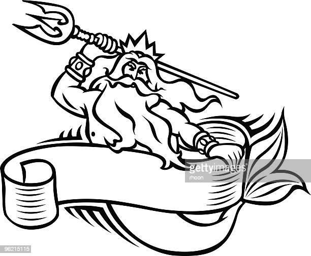 neptune - neptune roman god stock illustrations