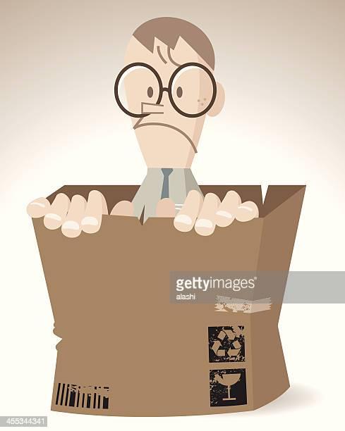nerd man in a shabby cardboard box - autism stock illustrations, clip art, cartoons, & icons