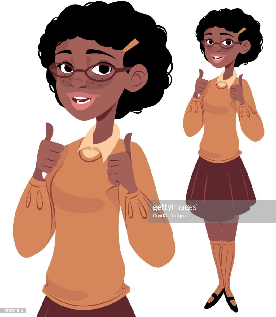 オタク少女 2 の親指 : ストックイラストレーション