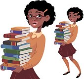 Nerdy Girl Carrying Books