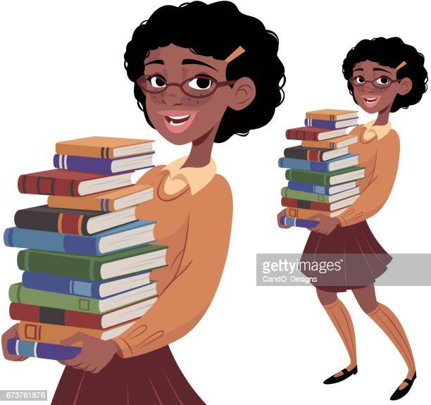 nerdy girl carrying books - school uniform stock illustrations, clip art, cartoons, & icons