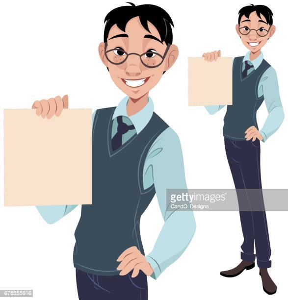 nerdy guy holding sign - school uniform stock illustrations, clip art, cartoons, & icons