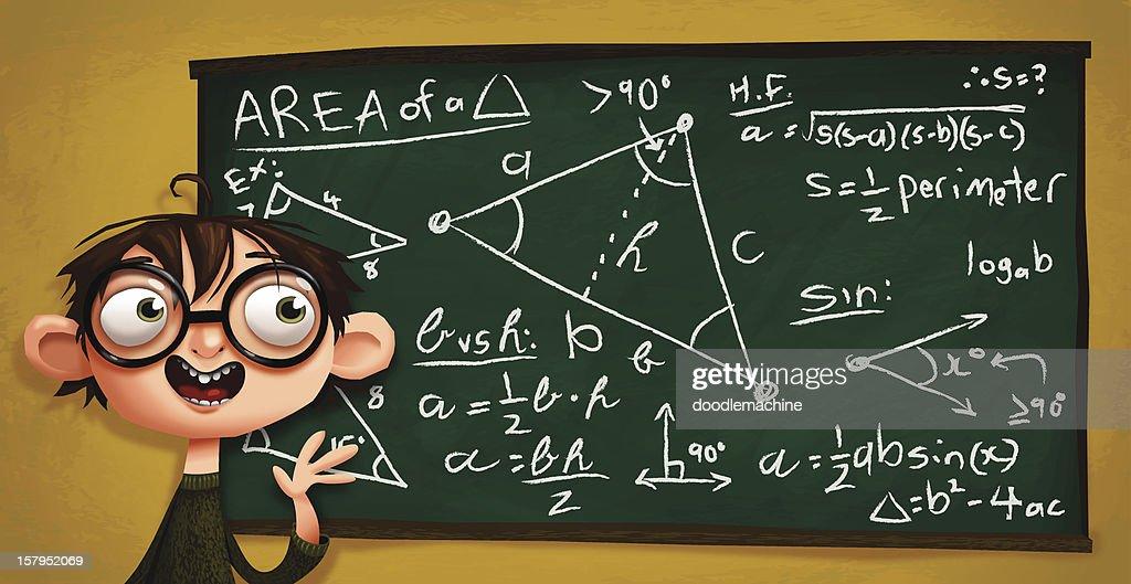 nerdy kiddo explains math stuff vector art getty images