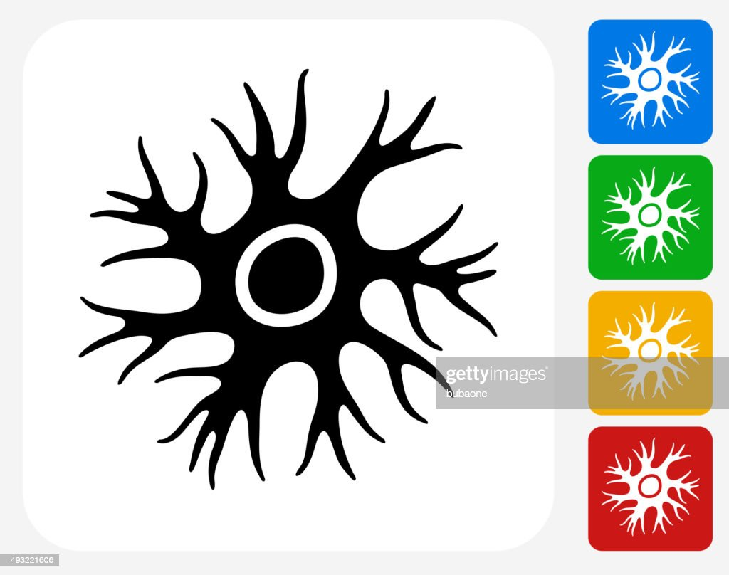 Nerve Cell Icon Flat Graphic Design