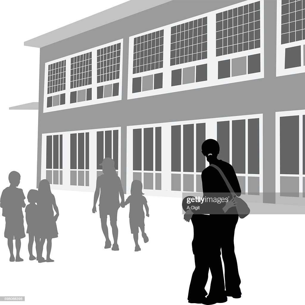 Nervous At A New School Silhouette Vector