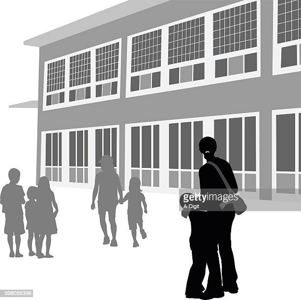 nervous at a new school silhouette vector - kids hugging mom cartoon stock illustrations