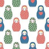 Nested doll seamless pattern. Cute wooden Russian doll - Matrioshka