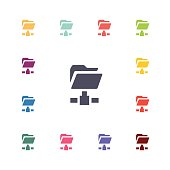 net folder flat icons set