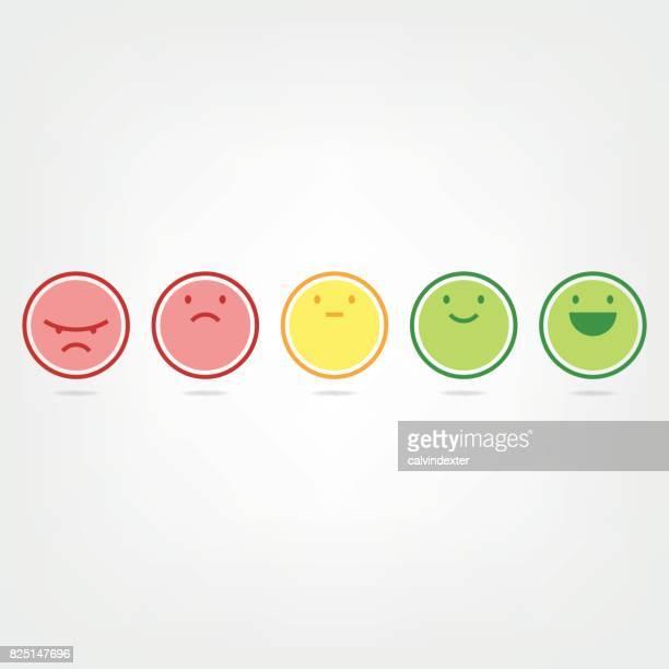 stockillustraties, clipart, cartoons en iconen met net promotor score emoticons - feedback
