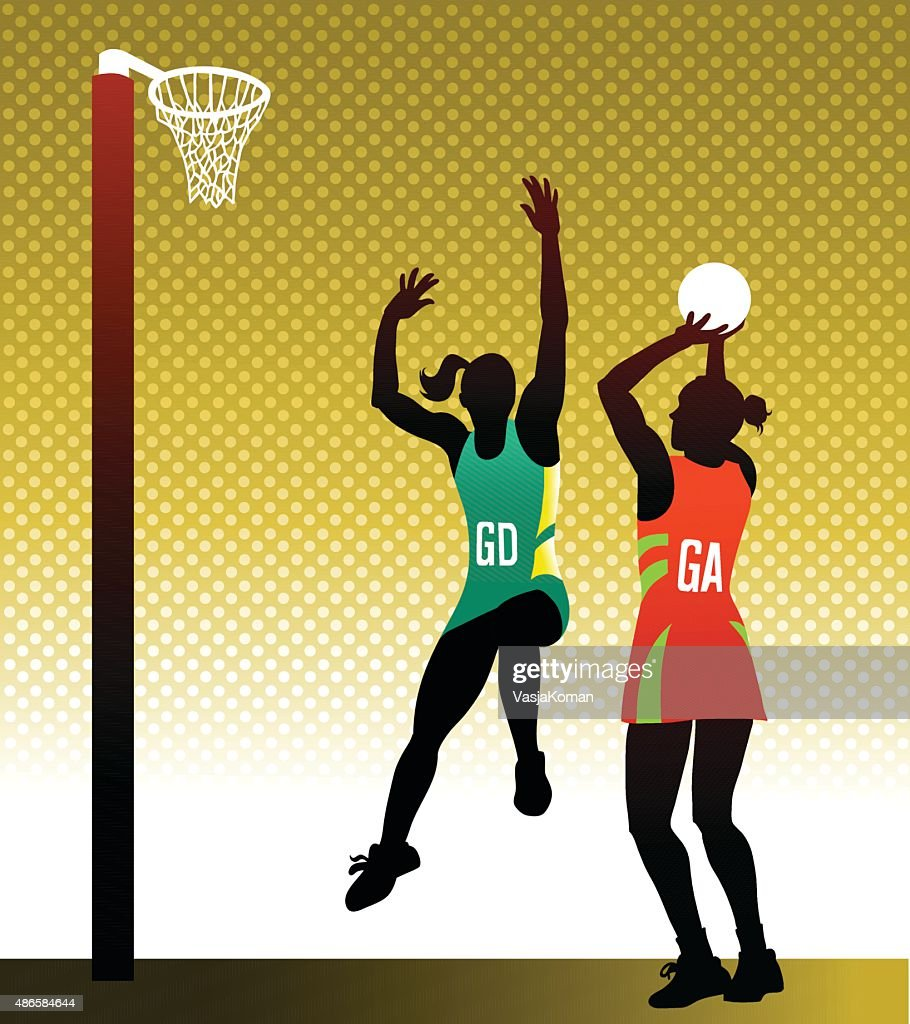 Netball players in action clipart