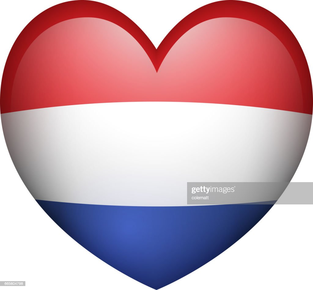 Netherland flag in heart shape