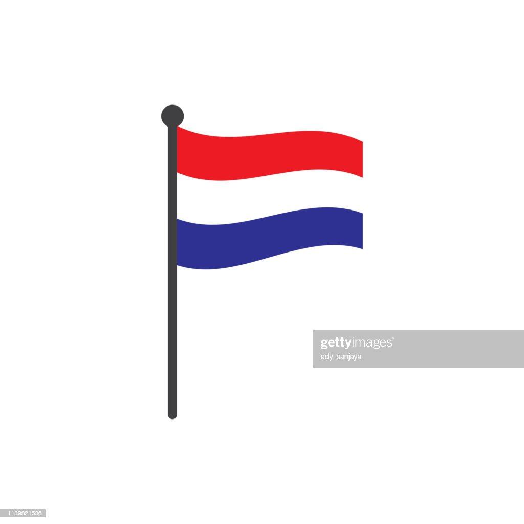 netherland flag with pole icon vector isolated on white background