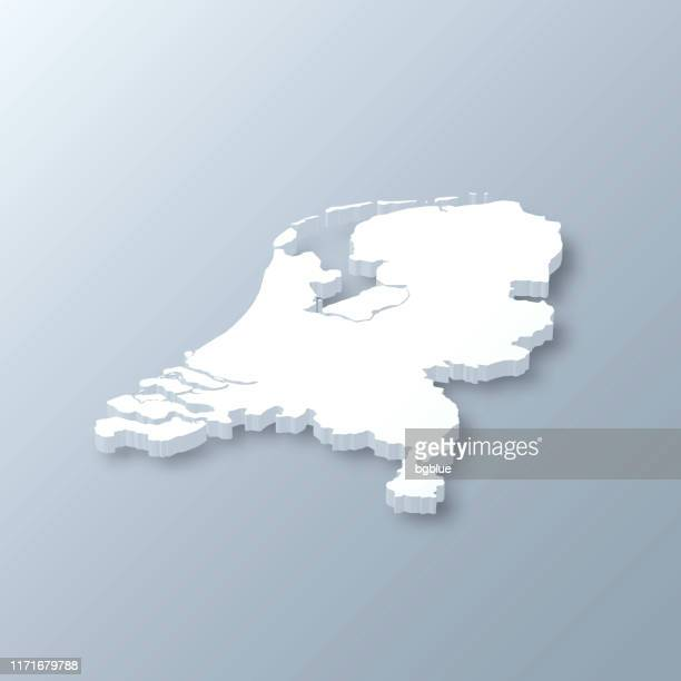 netherlands 3d map on gray background - netherlands stock illustrations