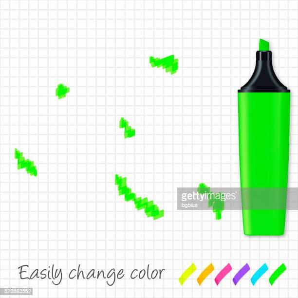 オランダ領アンティルグリッドに手描きされた地図紙、緑の蛍光ペン - シント・ユースタティウス島点のイラスト素材/クリップアート素材/マンガ素材/アイコン素材
