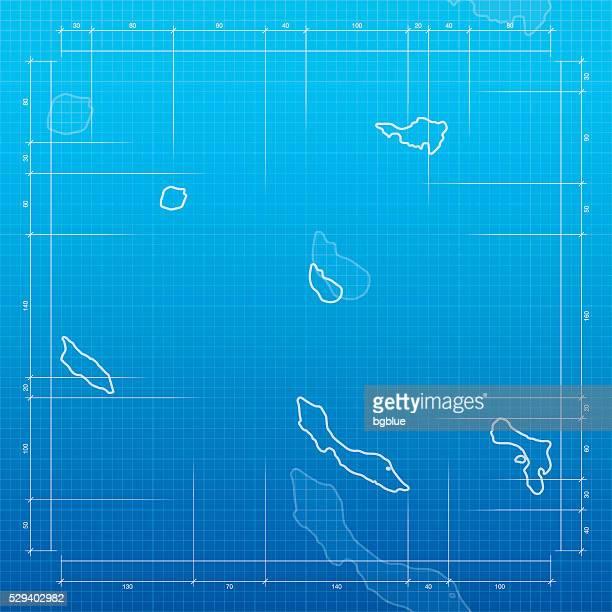オランダ領アンティル青写真を背景にした地図 - シント・ユースタティウス島点のイラスト素材/クリップアート素材/マンガ素材/アイコン素材