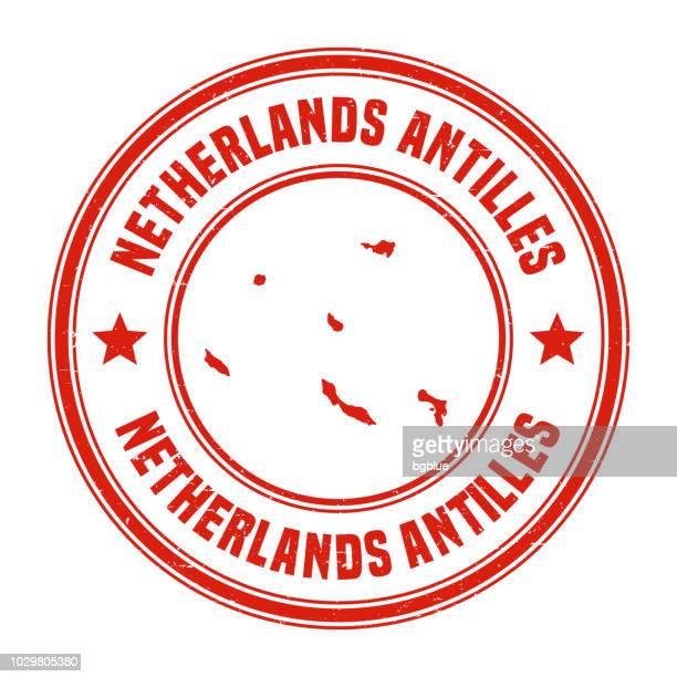 オランダ領アンティル - 名前と地図赤グランジ ゴム印 - シント・ユースタティウス島点のイラスト素材/クリップアート素材/マンガ素材/アイコン素材