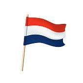 Netherlands flag on white background