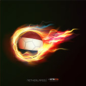Netherlands flag with flying soccer ball on fire, vector illustration