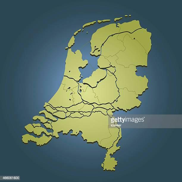 Netherlands green travel map on dark blue background