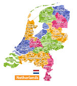 Netherlands high detailed local municipalities map colored by provinces. All elements are separated in detachable and labeled layers. Vector