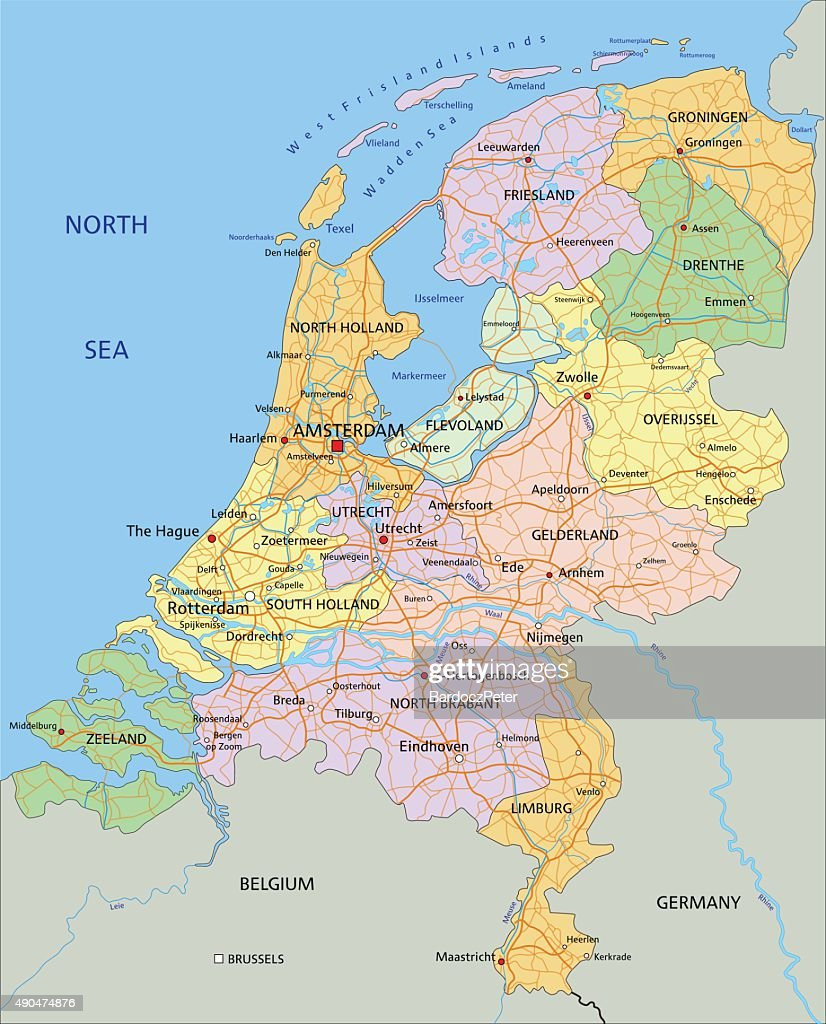Netherlands - Highly detailed editable political map.
