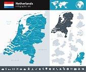 Netherlands - Infographic map - illustration