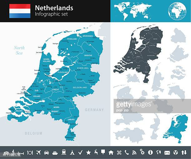 netherlands - infographic map - illustration - netherlands stock illustrations