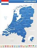 Netherlands - map and flag illustration