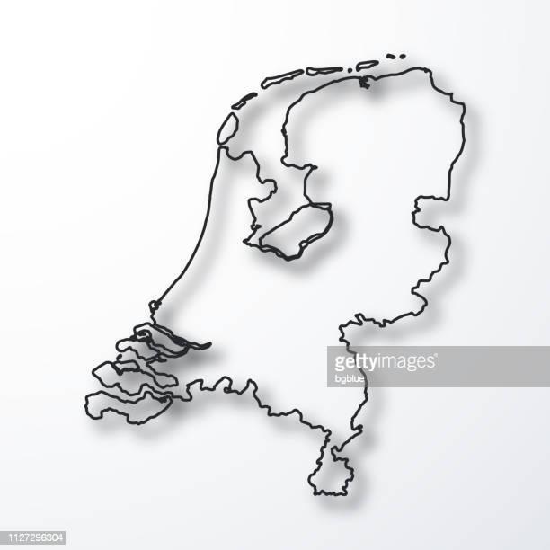 オランダの地図 - 白い背景のシャドウとアウトラインを黒 - オランダ点のイラスト素材/クリップアート素材/マンガ素材/アイコン素材